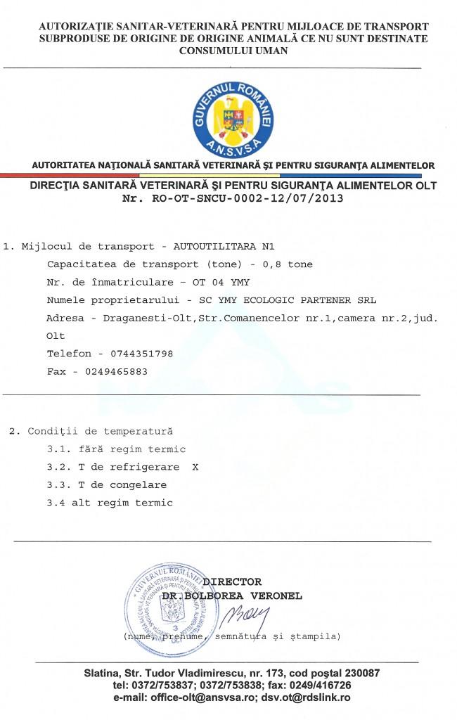 AUTORIZATIE SANITAR VETERINARA - ECARISAJ OLT